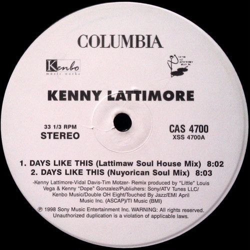 Kenny Lattimore - Days Like This (12inch) [house] 試聴 fps170427-33
