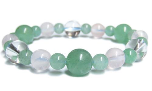 天然石ブレスレット アベンチュリン・ローズクオーツ・水晶