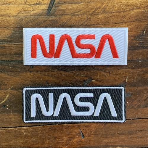 NASA公認(アメリカ航空宇宙局)ワッペン・アップリケ・NASAロゴ・ロゴタイプ(ワーム)・2枚セット