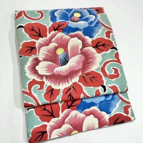 水浅葱色に大輪の椿と唐草模様 アンティーク名古屋帯 0213