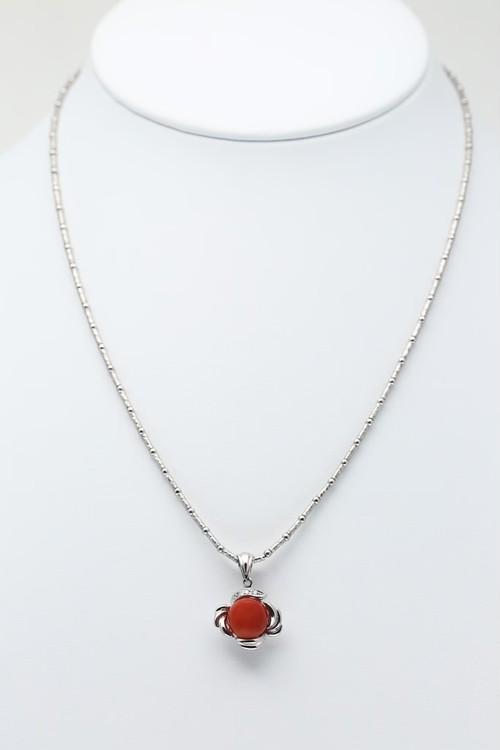PT900/850 9.4mm赤珊瑚 0.03ctダイヤモンドネックレス●