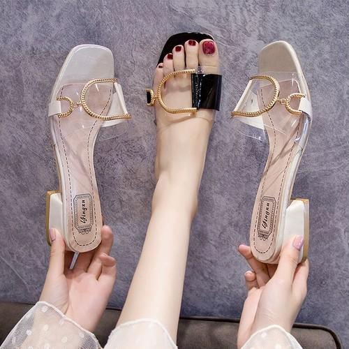 サンダル バックル スリッパ チャンキーヒール 4cm スクエアトゥ 韓国ファッション レディース 痛くない かわいい 靴 歩きやすい
