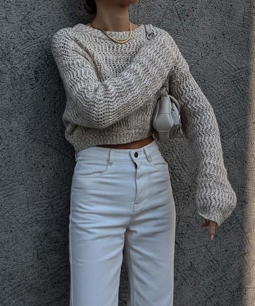 Light color mix short knit