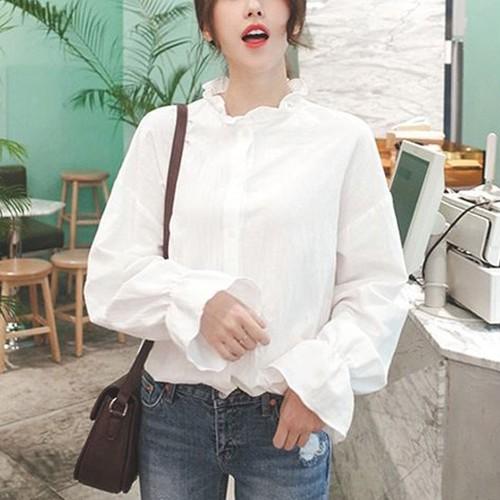 【トップス】韓国ファッション合わせやすい学園風ランタンスリーブホワイトシャツ