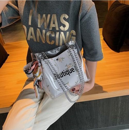 クリアショルダーバッグ 大きめ 花柄 大人可愛い フェミニン 春夏 クリアバッグ レディースバッグ 3色 W-1907-0001087