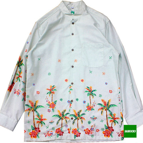 SAIKICKS L/S MAO COLLAR ALOHA SHIRT