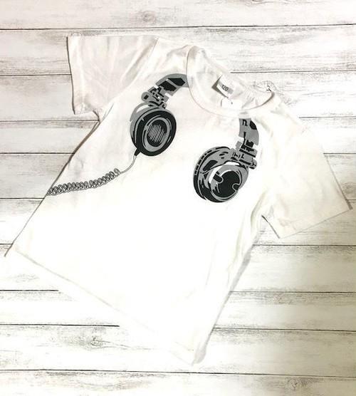 韓国子供服 ヘッドフォン柄Tシャツ LC4552