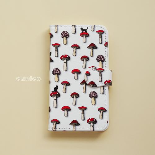 手帳型スマホケース「キノコと猫」
