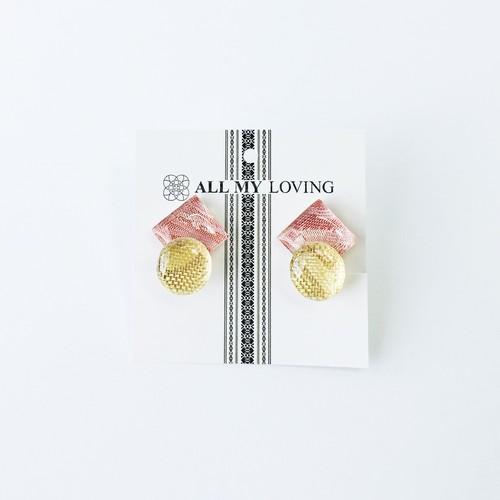 博多織と金糸のダブルイヤリング・ピアス(RY-8)ピンク ゴールド