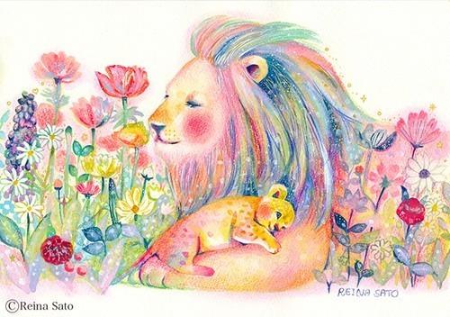 ライオンの親子[A4ポスター]