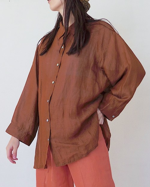 See-through linen blouse
