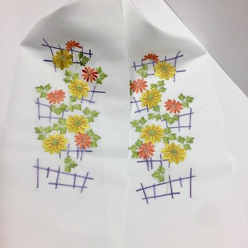 菊 花 刺繍 半襟 和小物 和装 オレンジ