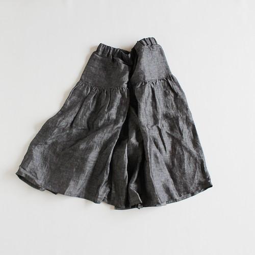 グレーリネンキュロットスカート