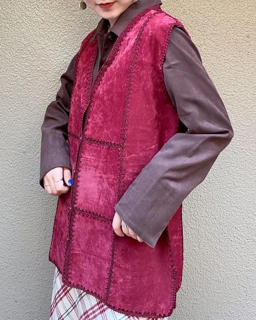 (PAL) suède patchwork big shirt