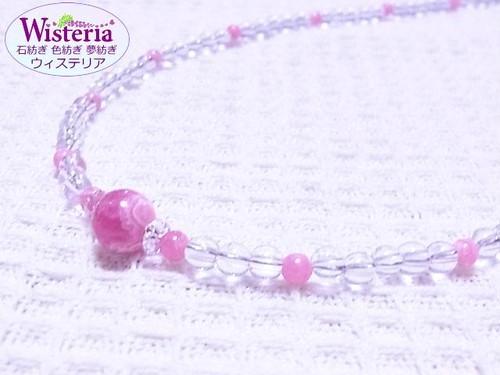 インカローズ(ロードクロサイト)×水晶 ネックレス