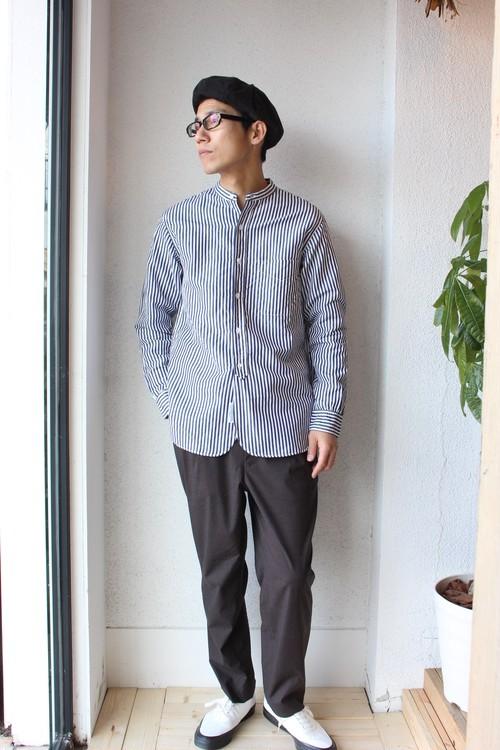 A Vontade(アボンタージ)/ Banded Collar Shirts(バンドカラーシャツ)ネイビーストライプ