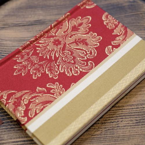 無地 フランス産 ジャガード織りレッド A6Colorisノート ポータブルサイズ