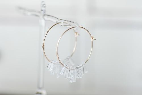 ガラスのフリンジピアス クリア(14kgf)