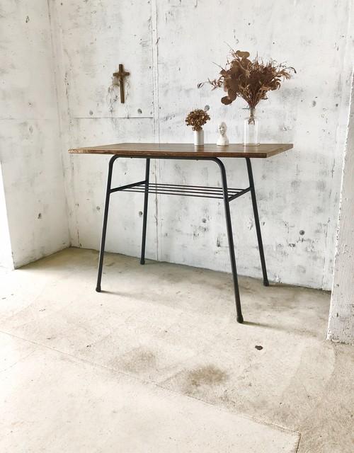 横長いアイアン脚テーブル[古家具]