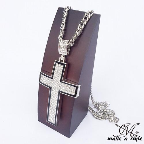 クロス 十字架 ジルコニア チェーン ネックレスロザリオ ラインストーン ブリンブリン シルバー 銀 670