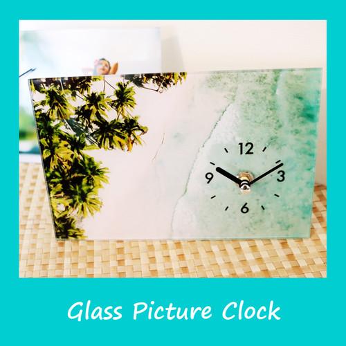 【ビーチ1点再入荷!】ガラスピクチャー 置時計(2デザイン)