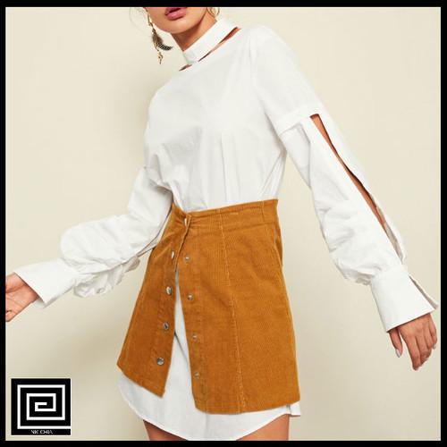 【即納・SALE】カットアウトボタンフロントモックネックシャツドレス