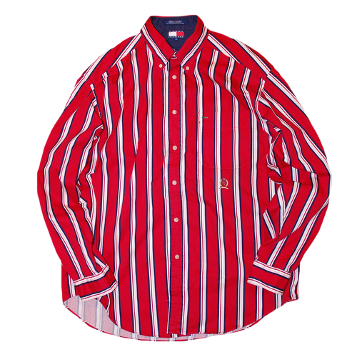 """90s Tommy Hilfiger"" Vintage Stripe Shirt Used"