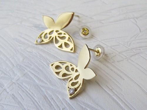 蝶のピアス【ファラーシャ】(K18YG, ダイヤモンド)【送料無料】