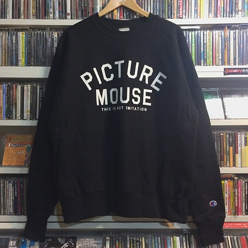 PICTURE MOUSE●champion reverse weave crew neck sweat(BLACK)