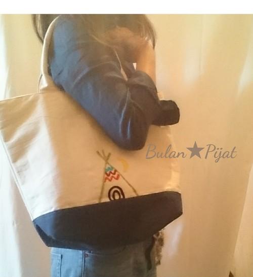 インディアン 刺繍 オリジナル トートバッグ 中ポケット ビーチ