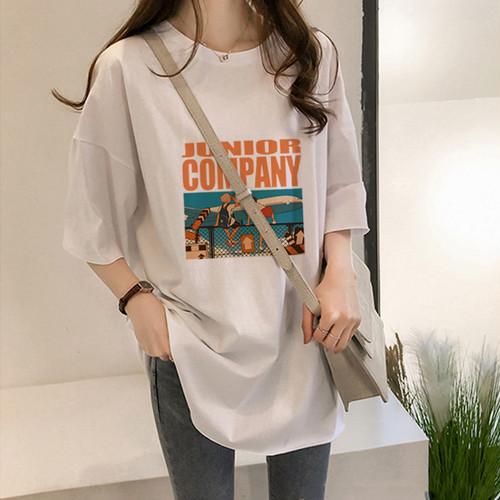 【トップス】新作入荷韓国版ゆるいアルファベットプリント半袖Tシャツファッション