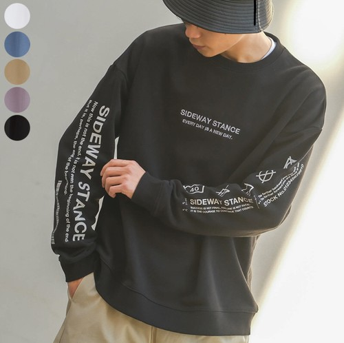 【即納】袖プリント×刺繍トレーナー ※ユニセックス【41023】