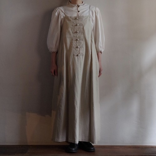 Select Item / French Linen China button Cami Dress # natural / フレンチ リネン キャミ ドレス