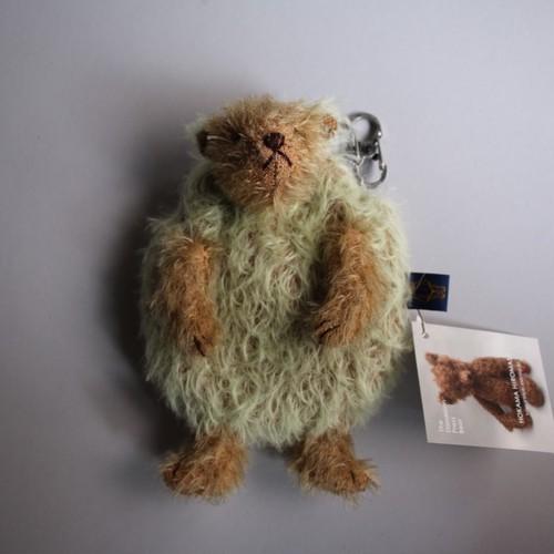 The Dandelion Press Bear 外間宏政 テディベア 30 【ライトグリーン+ショートゴールドお財布がま口5j前向きベア 110×160㎜