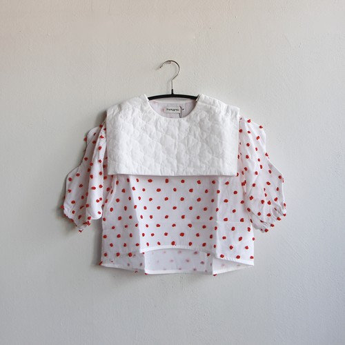 《frankygrow 2020AW》BEAR QUILTING SAILOR COLLAR TP / white × red bonbon / S・M・L
