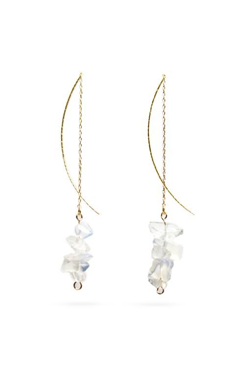 Rough Cut Stone American earrings | WHITE