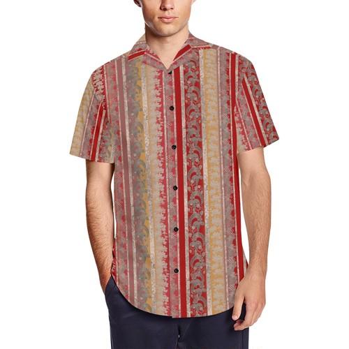 家紋ストライプ紅 和柄アロハシャツ