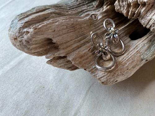 <vintage silver925>double ring floral pierce