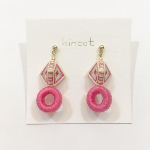 【kincot】糸巻きフープピアス(ピンク)パーツ交換可能