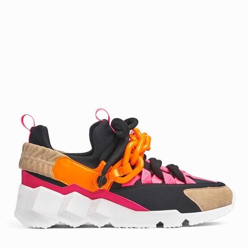 PIERRE HARDY   TREK COMET SNEAKER  Multi Black Orange chain