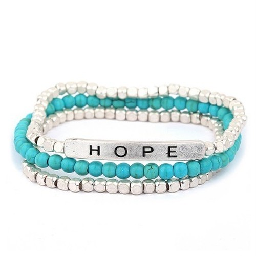 HOPE Message with Semi and Metal Beads Bracelet (PB0410)