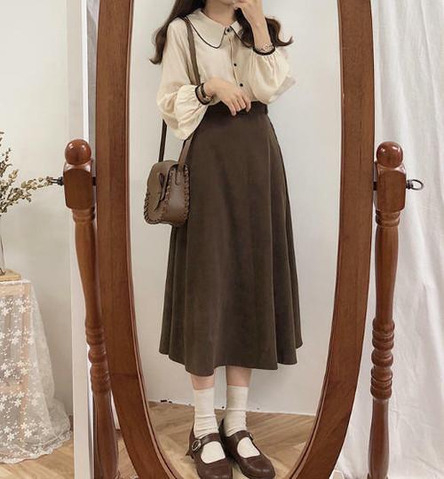 2色 スカート ロング フレア ハイウエスト ベルト付き レトロ 大人可愛い シンプル 韓国 オルチャン ファッション