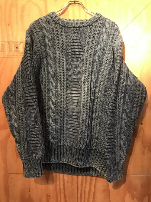 〜90s Original Blues MADE IN ENGLAND  Indigo Cable Knit / UT-2610