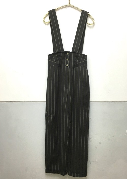 stripe high waist salopette pants