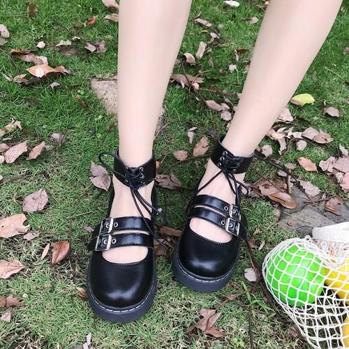 ロリータ靴 アンクルベルト チェック柄 個性的 ガーリー 靴 韓国