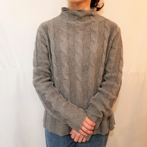Bottle-neck cotton cable knit sweater /Made In USA [K-748]