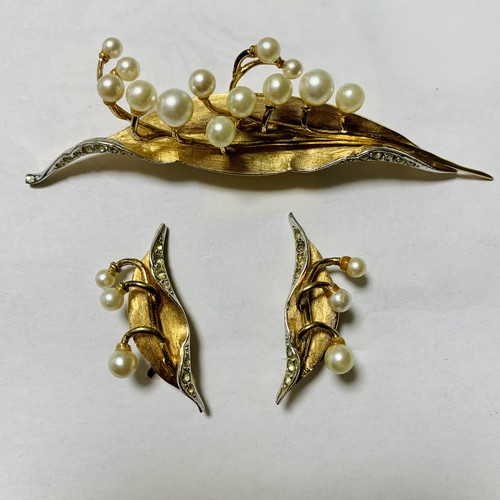 Vintage BOUCHER LILIY OF THE VALLEY Earrings & Blooch