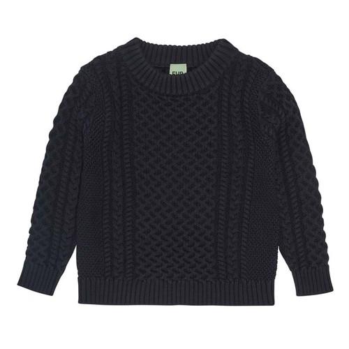 コットンケーブルニット 『FUB』2021SS ダークネイビー Structure Sweater, dark navy GOTS