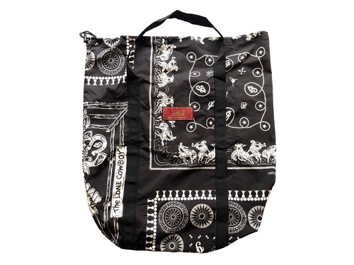 POCKETABLE TOTE BAG (BLACK) / INDIAN
