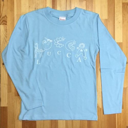 アニマルプリント 長袖Tシャツ ライトブルーxホワイトプリント